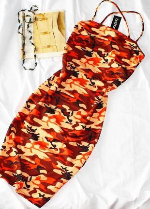 Платье миди в принт хаки boohoo