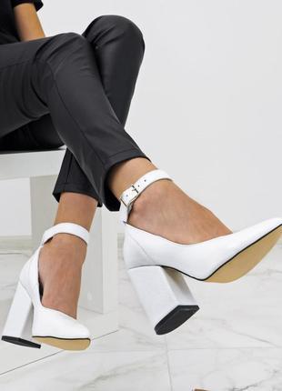 Туфли белые кожаные натуральная кожа