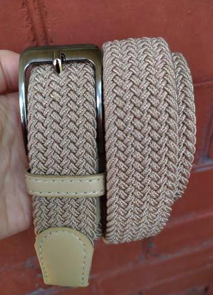 Эластичный пояс резинка плетеный ремень беж