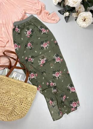 Шифоновая юбка в цветочный принт divided by h&m