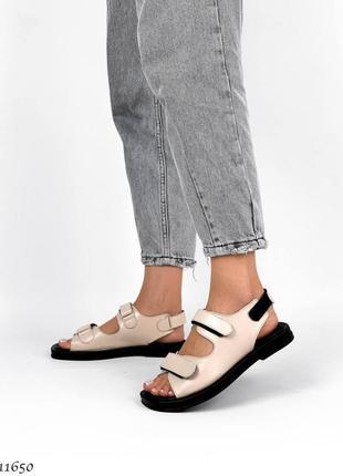 Босоножки =ailinda= кожаные бежевые на липучках