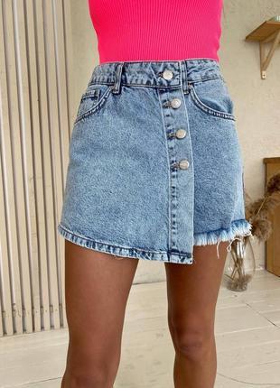 Юбка шорты джинсовые голубые