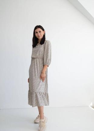 Красивое платье миди серое