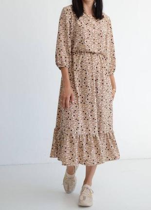 Новинка 🔥 трендовое летнее платье отличного качества, женское бежевое платье миди с принтом