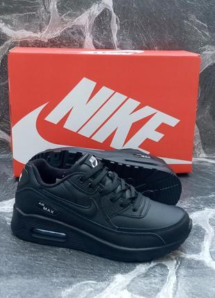 Женские кроссовки nike air max 90 кожаные, черные, осенние