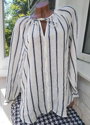 Льняная рубашка в полоску m&s