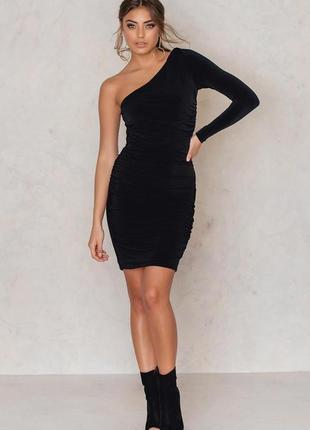 Шикарное брендовое вечернее платье на одно плечо gestuz этикетка