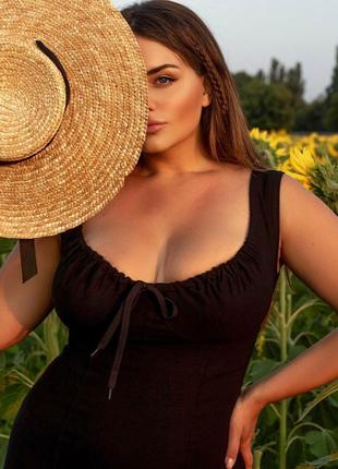 Черное летнее платье с разрезом.  3 расцветки