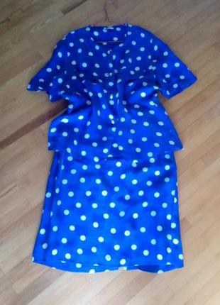 Дешево бомбезний вільного крою костюм із модифікованого шовку 42р.від ara