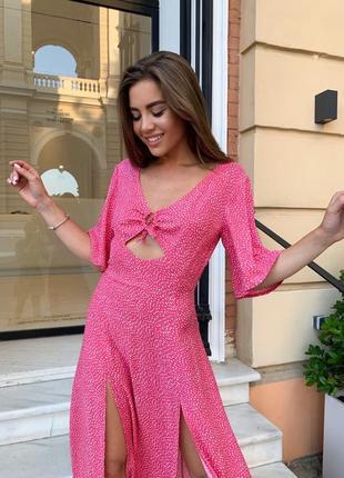 Женское платье миди в горошек