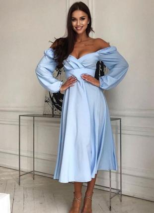 Нежное летнее миди платье сарафан с длинным рукавом спущенное плечо дом