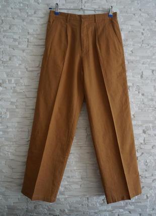 Карамельные брюки на высокой посадке защипы лён хлопок richini япония