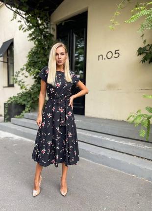 Нежное летнее миди платье сарафан цветочный принт с поясом аморе