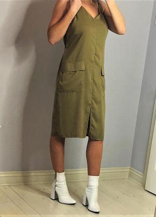 Стильное платье рубашка платье сафари цвета оливы платье милитари