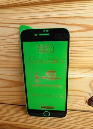 Защитное стекло керамическое 9d черное на iphone 7 айфон 5d 3d 10d