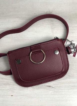 Стильная женская молодежная сумка клатч на пояс aliri-992-07 бордового цвета