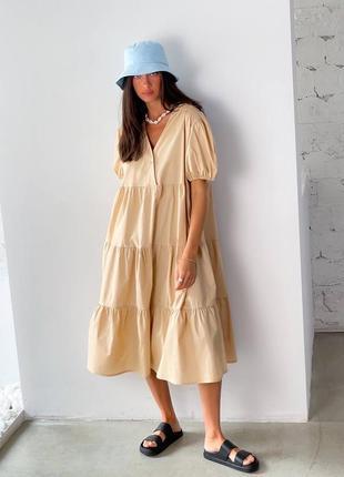 Платье миди котон бежевое2 фото