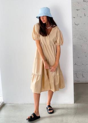 Платье миди котон бежевое4 фото