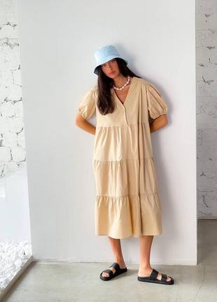 Платье миди котон бежевое3 фото