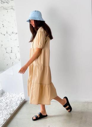 Платье миди котон бежевое8 фото