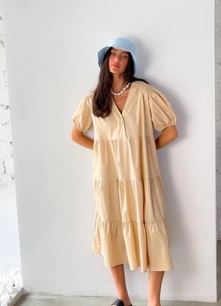 Платье миди котон бежевое6 фото
