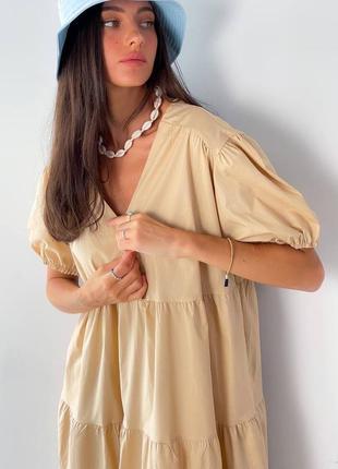 Платье миди котон бежевое9 фото