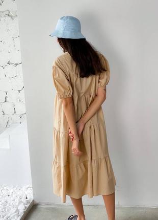 Платье миди котон бежевое10 фото