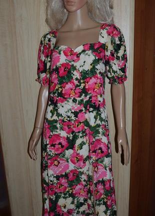Миди платье с разрезом в цветы актуального кроя h&m 12 размер