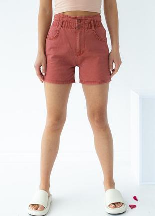 Джинсовые шорты багги с резинкой на талии, цвет терракотовый
