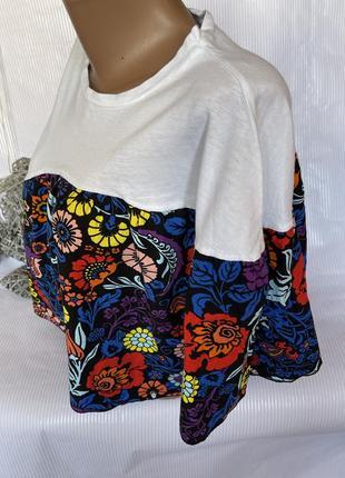 Стильная коротенькая футболка свободный крой zara2 фото