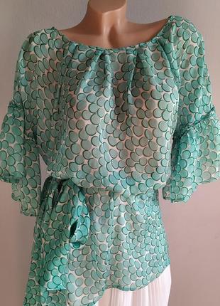 Блуза с поясом из 100% шелка