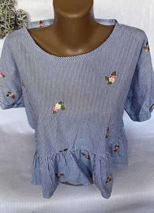 Стильная футболка , блуза с вышивкой zara