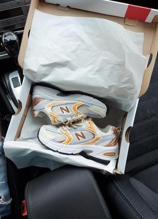 Женские кроссовки new balance 530 white/gold