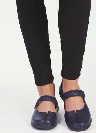 Мегаудобные кожаные туфли балетки мокасины hotter/натуральная кожа1 фото