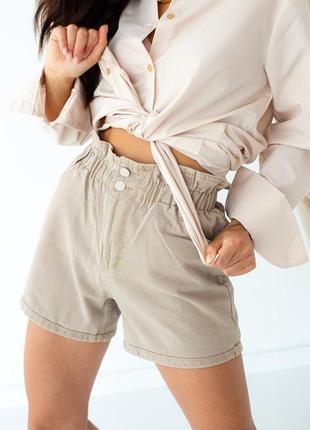 Джинсовые шорты багги с резинкой на талии, цвет кофейный