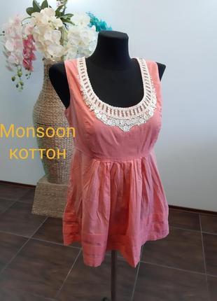 Блуза майка расшита бисером коттон monsoon