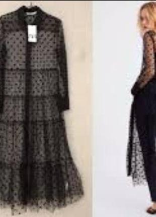 Zara платье накидка кардиган туника zara на пуговицах платье рубашка платье сетка в горошек2 фото