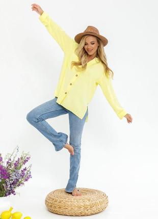 Ассиметричная лимонная 🍋свободная рубашка4 фото