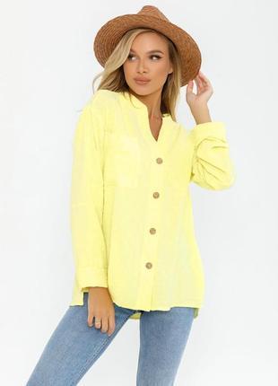 Ассиметричная лимонная 🍋свободная рубашка2 фото