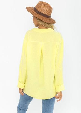 Ассиметричная лимонная 🍋свободная рубашка3 фото