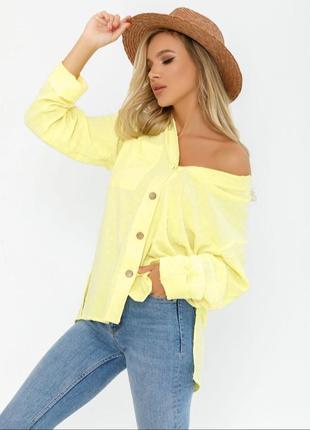Ассиметричная лимонная 🍋свободная рубашка1 фото