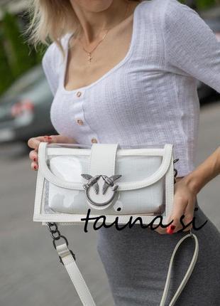 Женская белая сумка белый клатч кроссбоди белая прозрачный клатч кроссбоди через плечо