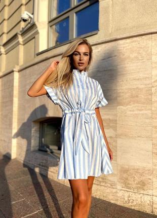 Льняное летнее мини платье сарафан рубашка воротник-стойка пояс на затяжке