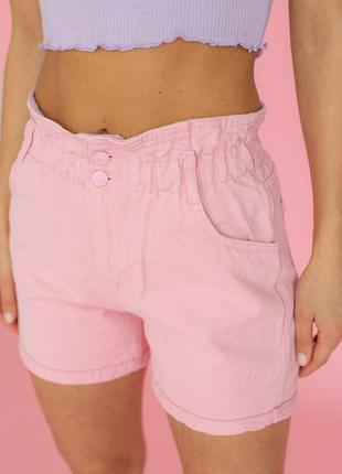 Джинсовые шорты багги с резинкой на талии, цвет пудра