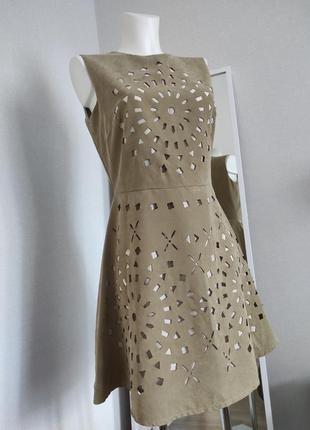 Бежевое женское  платье плаття жіноче приталенное с перфорацией