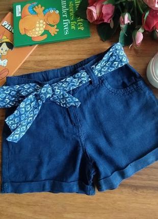 Модные летние лёгкие лен шорты george на 4-5 лет.