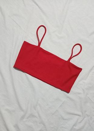 Красный кроп топ на тонких бретелях2 фото