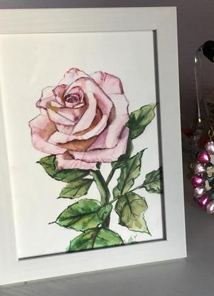 Картина акварелью цветок роза ручная работа