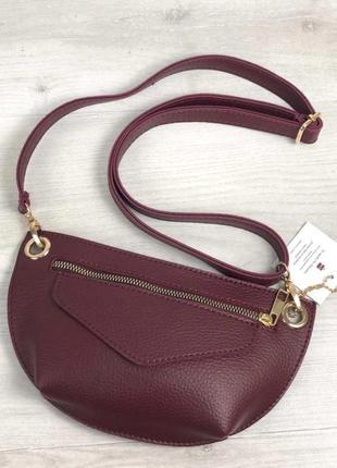 Модная женская сумка кросбоди сумка на пояс клатч aliri-610-07 бордового цвета