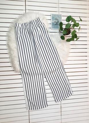 Летние белые широкие брюки в полоску вискоза m&s p. m-l3 фото